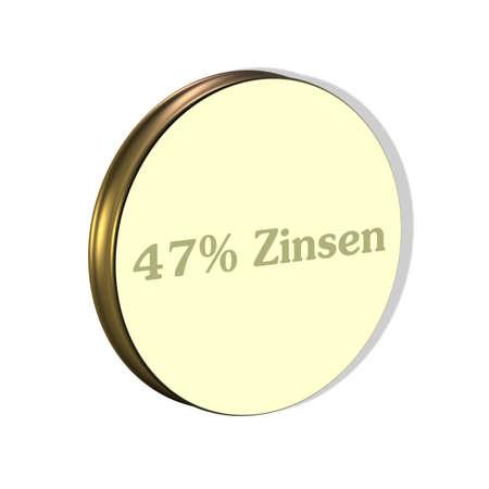 3D illustration, 3D Rendering: 47% interest, symbol image of investment, interest income