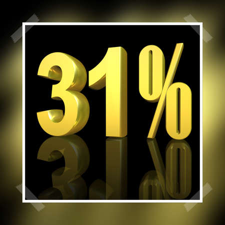 3D illustration, 3D Rendering: 31%, symbol image for investments, interest, discount, profit