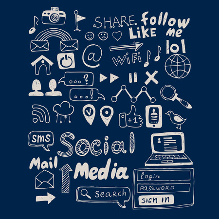 Ilustración de Hand drawn vector illustration set of social media sign and symbol doodles elements. Isolated on dark background - Imagen libre de derechos