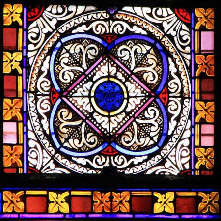 Foto de Colourful seamless stained glass window panel  in Chusclan, France - Imagen libre de derechos