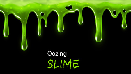 Illustrazione per Oozing green slime seamlessly repeatable, individual drops removable - Immagini Royalty Free