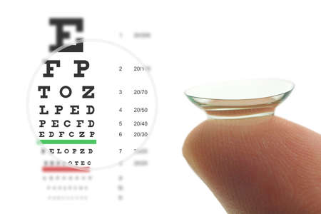 Photo for Contact lens on finger and snellen eye chart. Concept sharp vision. - Royalty Free Image