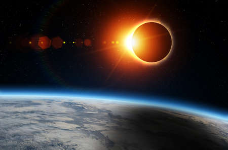 Photo pour Solar Eclipse and Earth. Solar eclipse, mysterious natural phenomenon when Moon passes between planet Earth and Sun. - image libre de droit