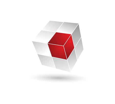 Cube puzzle in 3d effect