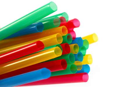 Photo pour a bunch of colorful plastic tubes for a drink - image libre de droit