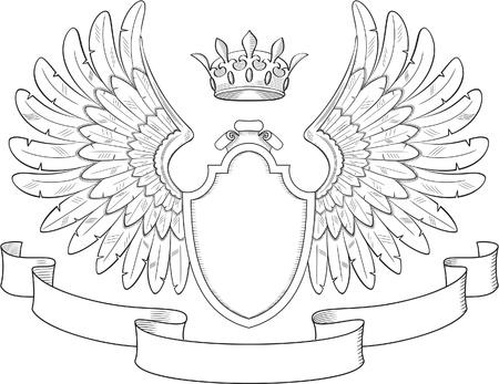 Illustration for Engraved heraldry symbol for luxury design - Royalty Free Image