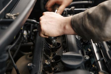 Foto für Close-up of the engine of a bus, a truck after a - Lizenzfreies Bild