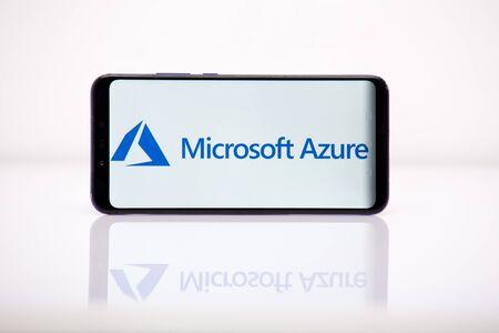 Foto de Tula 2.08.2019 Microsoft Azure on the phone display. - Imagen libre de derechos