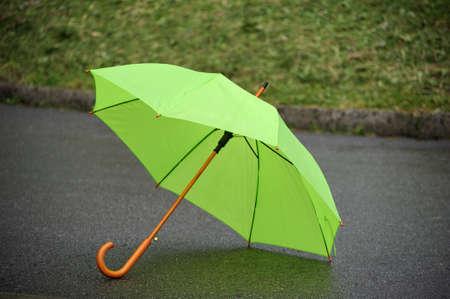 green umbrella closeup on a background of grass