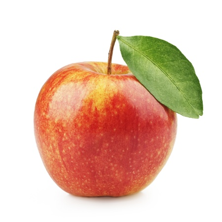 Photo pour Delicious red apple with a leaf on a white background - image libre de droit