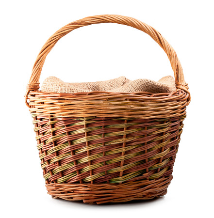 Photo for vintage weave wicker basket isolated on white background  - Royalty Free Image