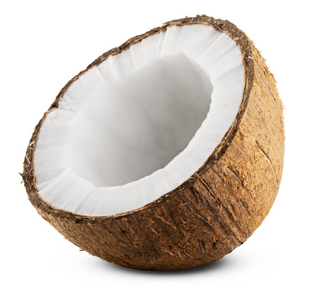 Photo pour Half coconut isolated on white Background. Clipping Path - image libre de droit