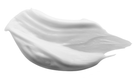 Photo pour Stroke of White Beauty Cream Isolated on White Background. Clipping Path - image libre de droit