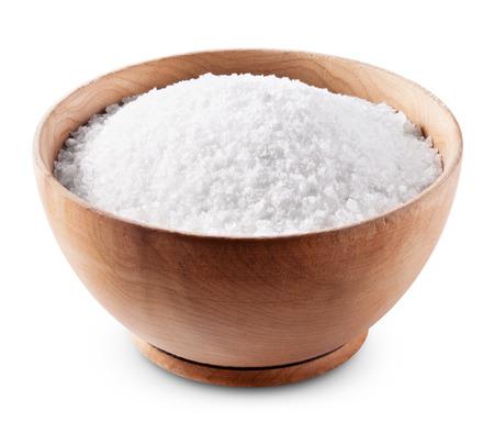 Photo pour Sea salt in wooden bowl on white background  - image libre de droit