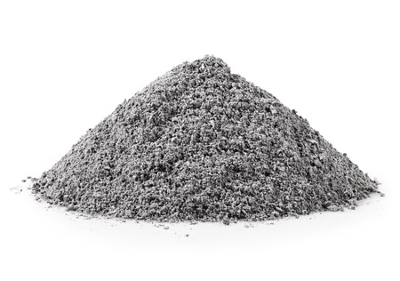 Photo for handful of gray ash on white background - Royalty Free Image
