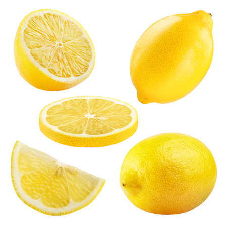 Photo pour Set of ripe lemon fruits isolated on white background. - image libre de droit