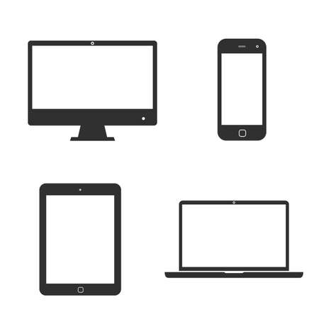 Illustration pour Set of icons electronic devices with white blank screens. smartphone, tablet, computer monitor and laptop. - image libre de droit