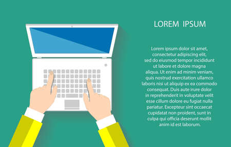 Illustration pour Businessman working at a white laptop. Hand on notebook keyboard with blank screen monitor. Flat design concept with copy space.  - image libre de droit