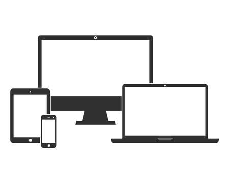 Illustration pour Electronic devices with white blank screens - computer monitor, smartphone, tablet, and laptop isolated on white background. Vector iilustration set of black icons - image libre de droit