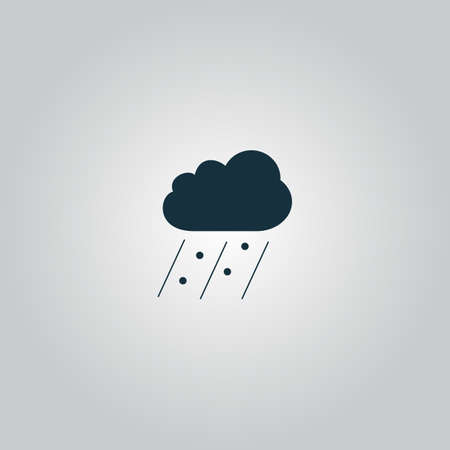Cloud it is raining and hail. Flat web icon, sign or button isolated on grey background. Collection modern trend concept design style vector illustration symbol