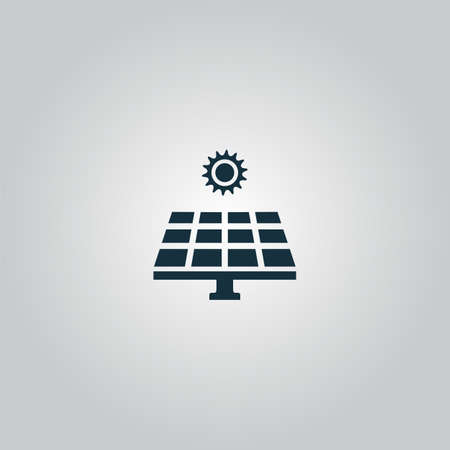 Illustration pour Solar energy panel. Flat web icon or sign isolated on grey background. Collection modern trend concept design style vector illustration symbol - image libre de droit