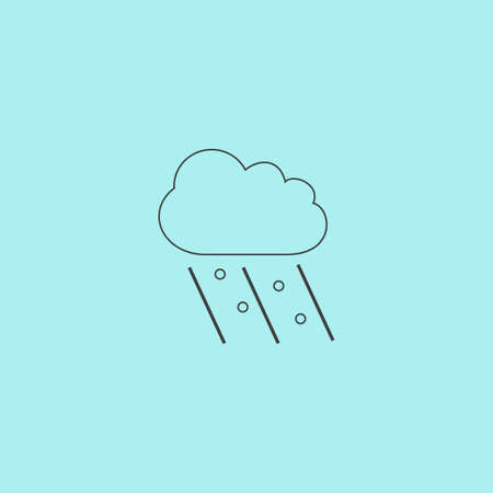 Cloud it is raining and hail. Simple outline flat vector icon isolated on blue background