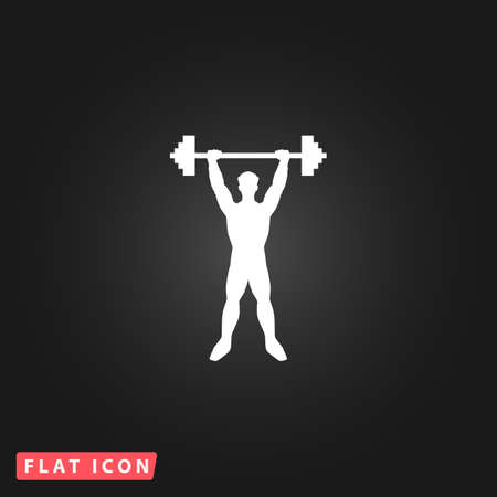 Strong man. White flat simple vector icon on black background