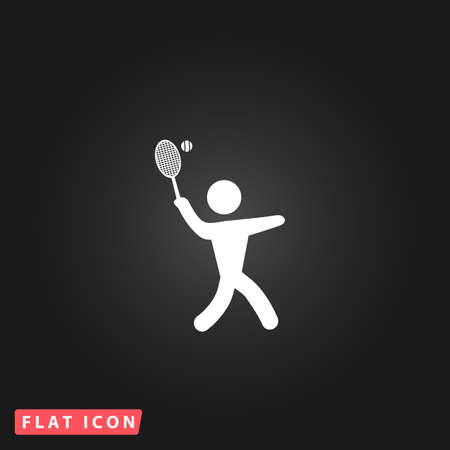 Tennis player, silhouette. White flat simple vector icon on black background