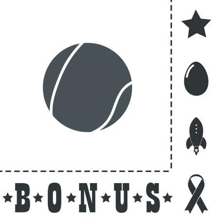 Ilustración de Tennis Ball. Simple flat symbol icon on white background. Vector illustration pictogram and bonus icons - Imagen libre de derechos