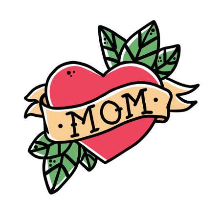 Ilustración de Tattoo Heart with ribbon and the word mom. Old school retro vector illustration. - Imagen libre de derechos