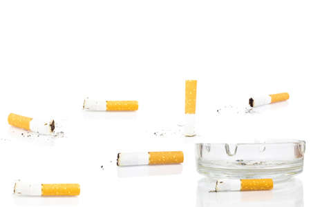 Photo for cigarette butt in ashtray on white background, isolated - Royalty Free Image