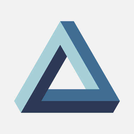 Illustration for Blue Penrose Triangle on light background - Royalty Free Image