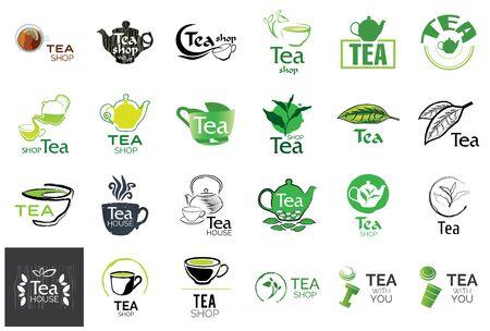 Ilustración de Vector set of tea shop logos - Imagen libre de derechos