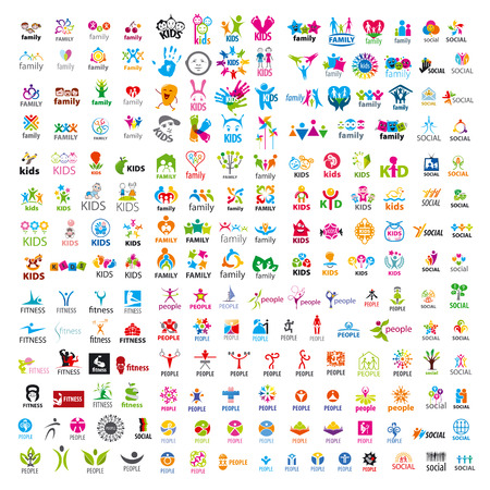 Ilustración de biggest collection of vector logos people - Imagen libre de derechos