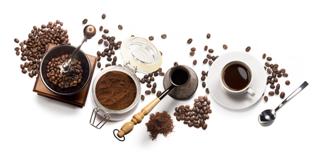 Photo pour Top view of coffee, isolate on white - image libre de droit