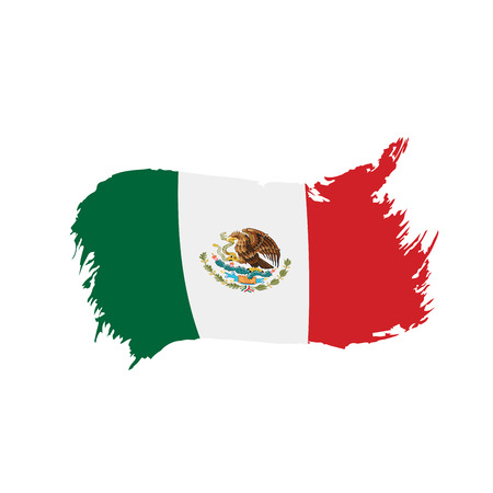 Illustration for Mexican flag, vector illustration on a white background - Royalty Free Image