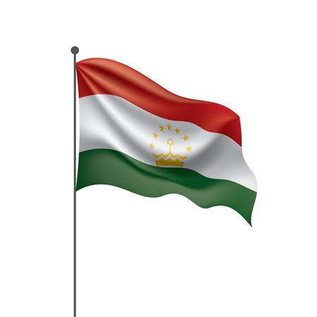 Illustration pour Tajikistan national flag, vector illustration on a white background - image libre de droit
