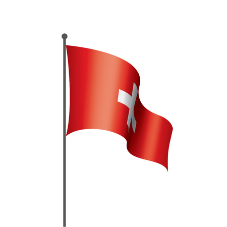Illustration pour Switzerland national flag, vector illustration on a white background - image libre de droit