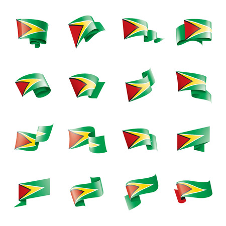 Illustration pour Guyana national flag, vector illustration on a white background - image libre de droit