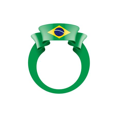 Illustrazione per Brazil flag, vector illustration on a white background - Immagini Royalty Free