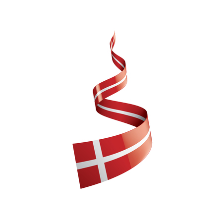 Illustration pour Denmark flag, vector illustration on a white background - image libre de droit