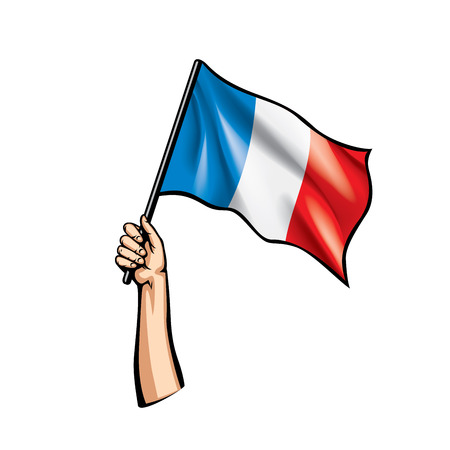 Illustrazione per France flag and hand on white background. Vector illustration. - Immagini Royalty Free