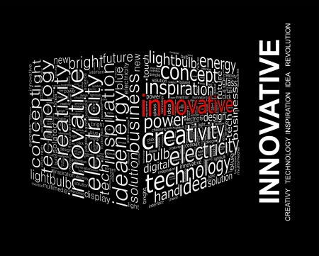 INNOVATIVE  Word collage on black background
