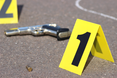 Photo for id tents at crime scene after gunfight - Royalty Free Image