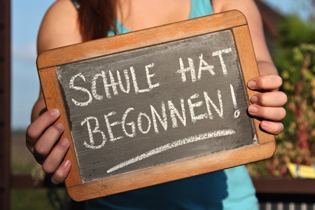 Photo for SCHULE HAT BEGONNEN (German for: school has started) - Royalty Free Image