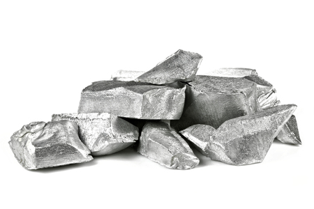 Foto de 99.99% fine aluminum isolated on white background - Imagen libre de derechos