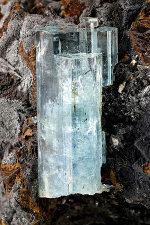 Photo pour aquamarine crystal from Erongo, Namibia nestled in matrix - image libre de droit