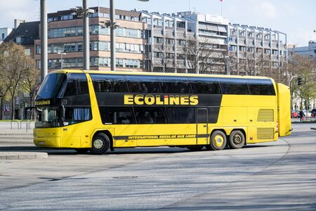 Foto per Ecolines intercity bus at Hamburg Central Bus Station. Ecolines is a long distance coach organisation with a transnational network. - Immagine Royalty Free