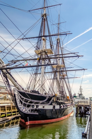 Photo for USS Constitution, wooden-hulled, three-masted heavy frigate of the United States Navy - Royalty Free Image