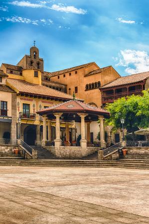 Foto de Plaza Mayor, main square in Poble Espanyol, an open-air architectural museum on the Montjuic hill in Barcelona, Catalonia, Spain - Imagen libre de derechos